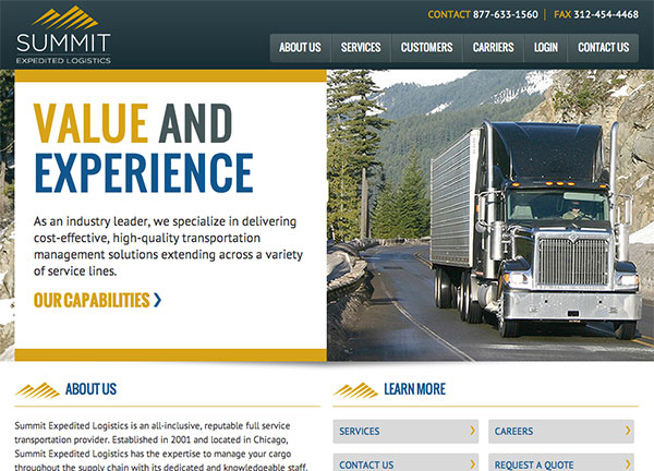 Summit Expedited Logistics Chicago Web Design